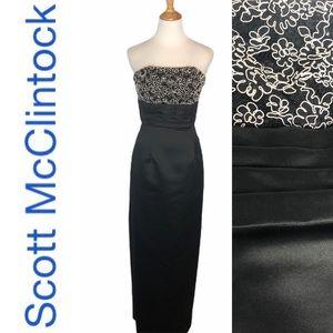 Scott McClintock B/W Strapless Formal Dress 4
